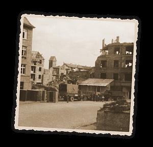 Zerstörung der Druckerei im zweiten Weltkrieg